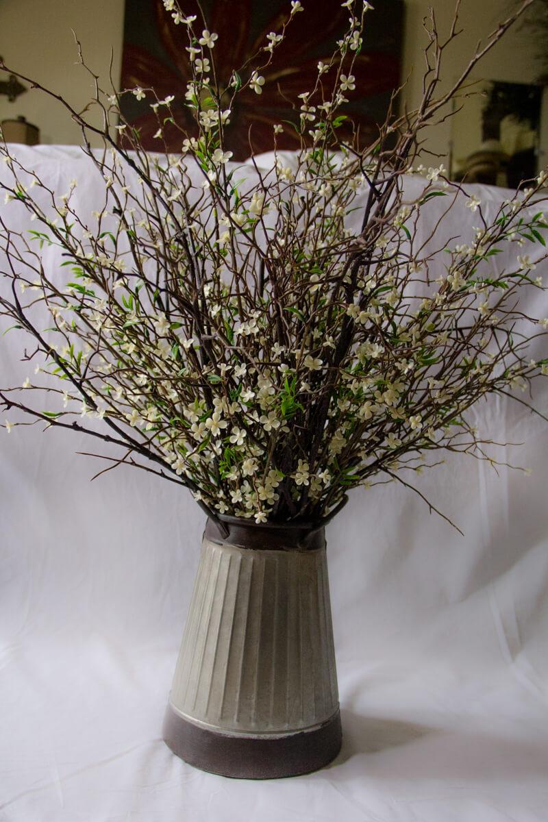 Silk Flower Arrangement Galvanized Bucket Frosted Saddle