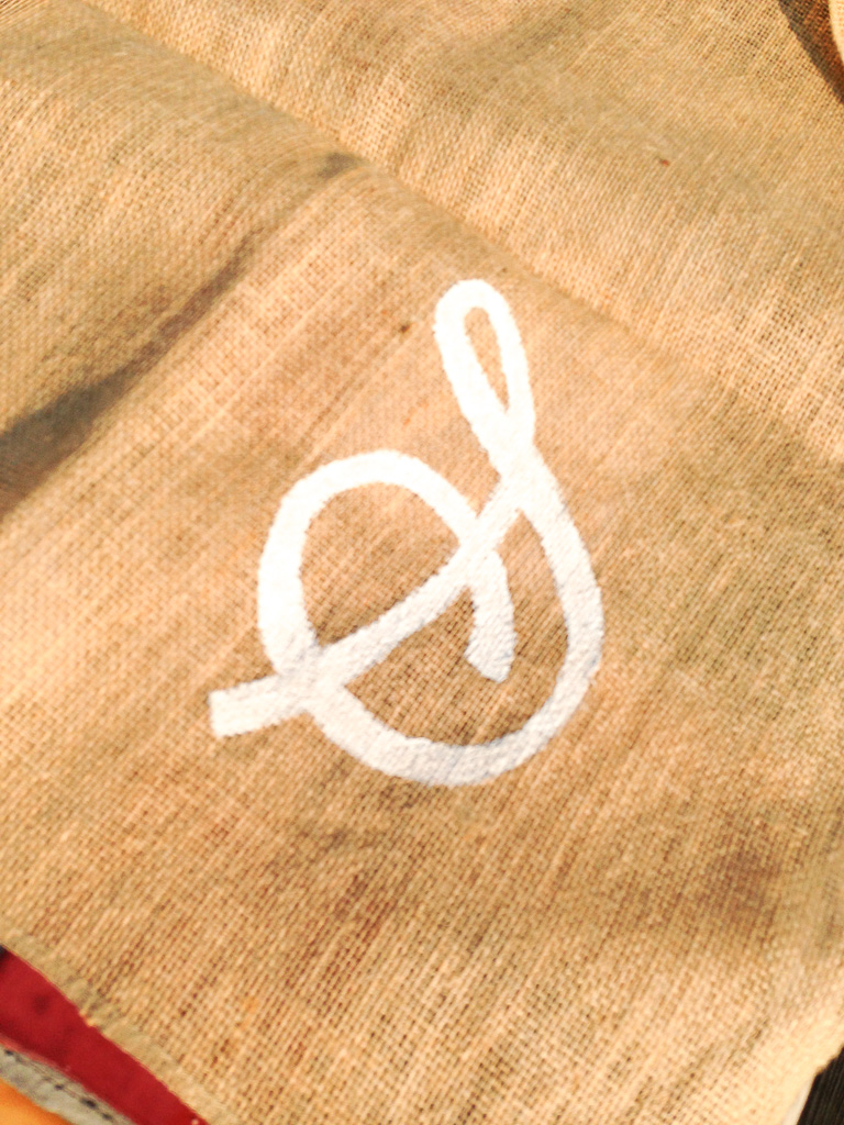 Tablecloth with Initial on Burlap